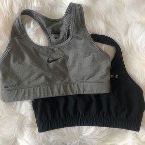 Nike Sports Bra and under Armour sports bra bundle